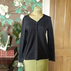 CROFT & BARROW  Long Sleeve Striped Top Size XS